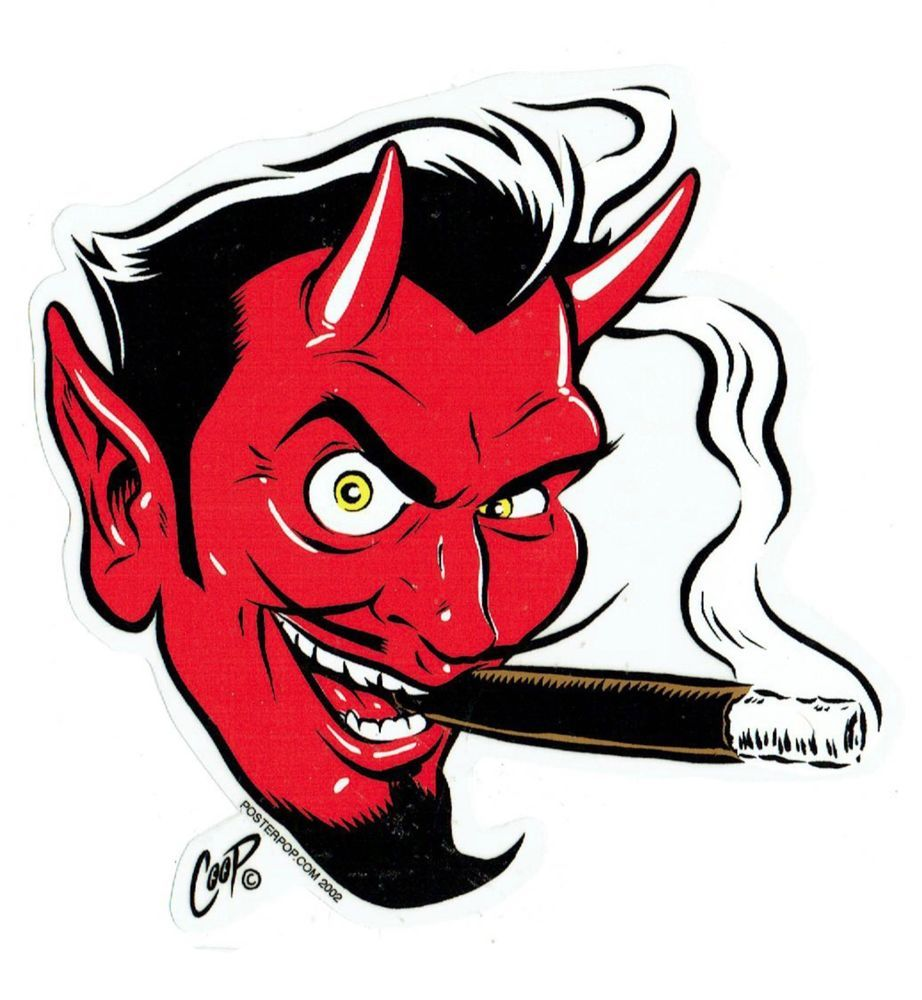Demon clipart demon head. Coop sticker decal devil