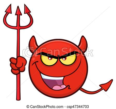 Red cartoon face character. Demon clipart devil emoji clipart black and white