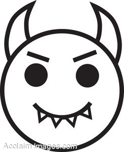 Horn drawing at getdrawings. Demon clipart devil face vector black and white stock