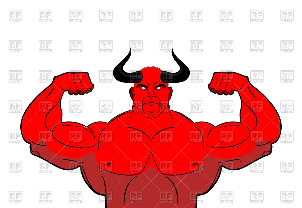 Strong with horns powerful. Demon clipart devil man picture transparent stock