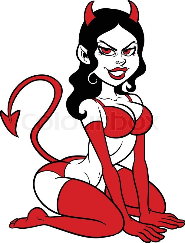 Demon clipart female devil. Woman pin up vector free