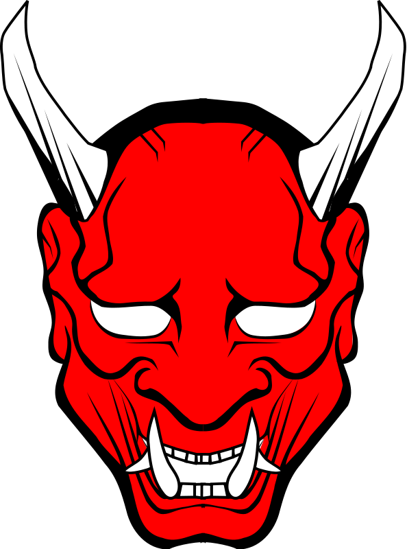 Hannya vector free cliparts. Demon clipart protected svg