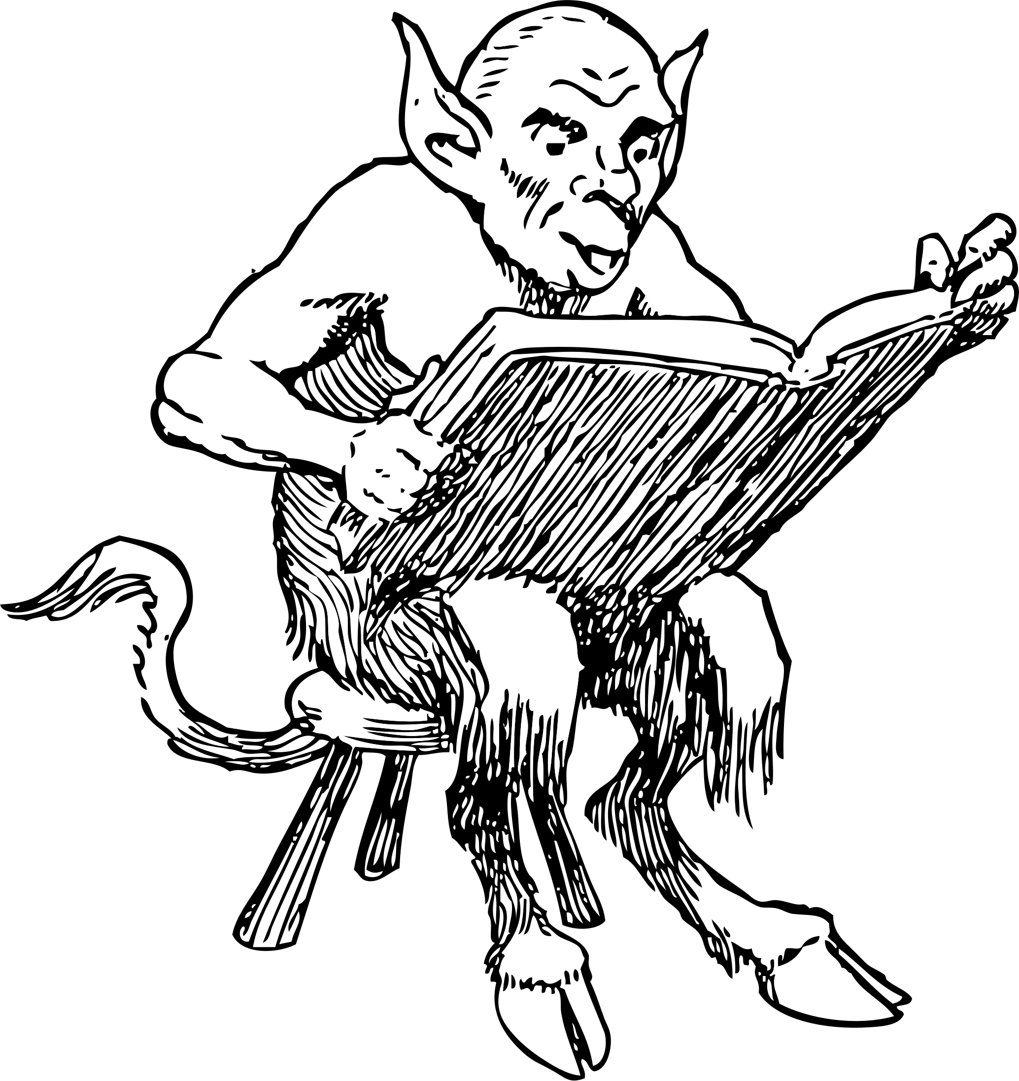 Demonic drawing simple. Clipart demon reading book