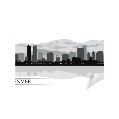 Denver skyline silhouette png. City background wall mural