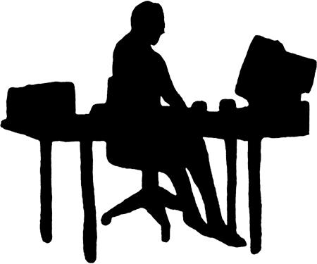 Working vector office workers. Free computer worker cliparts