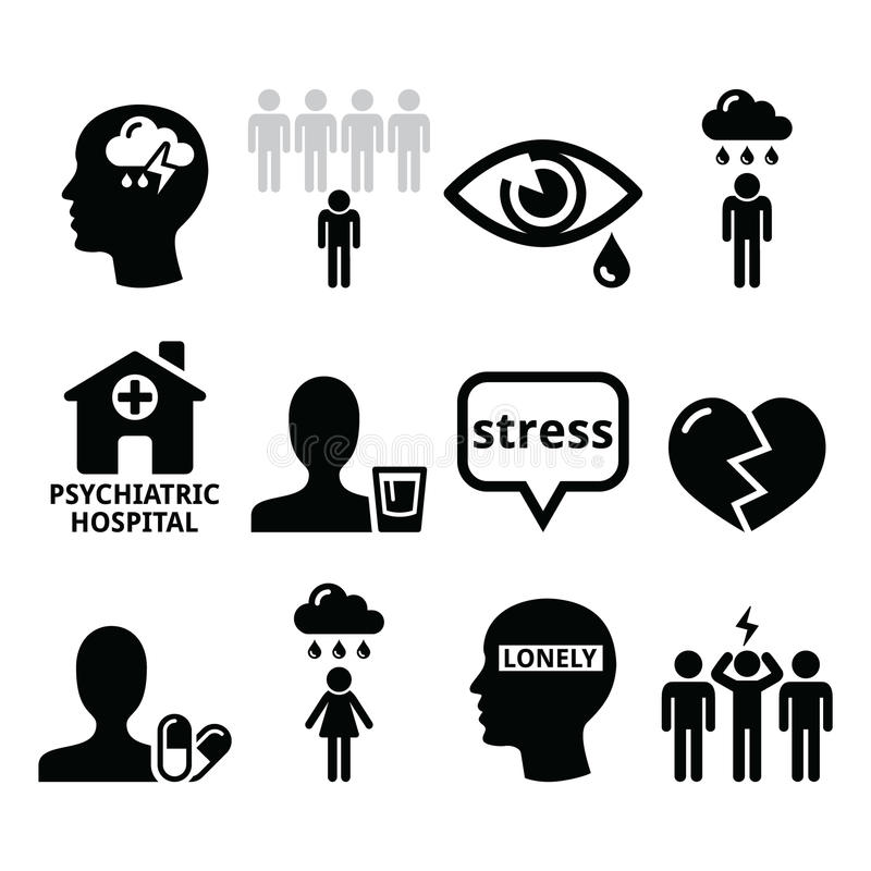 Depression clipart mental illness. Health icons addiction loneliness vector free stock
