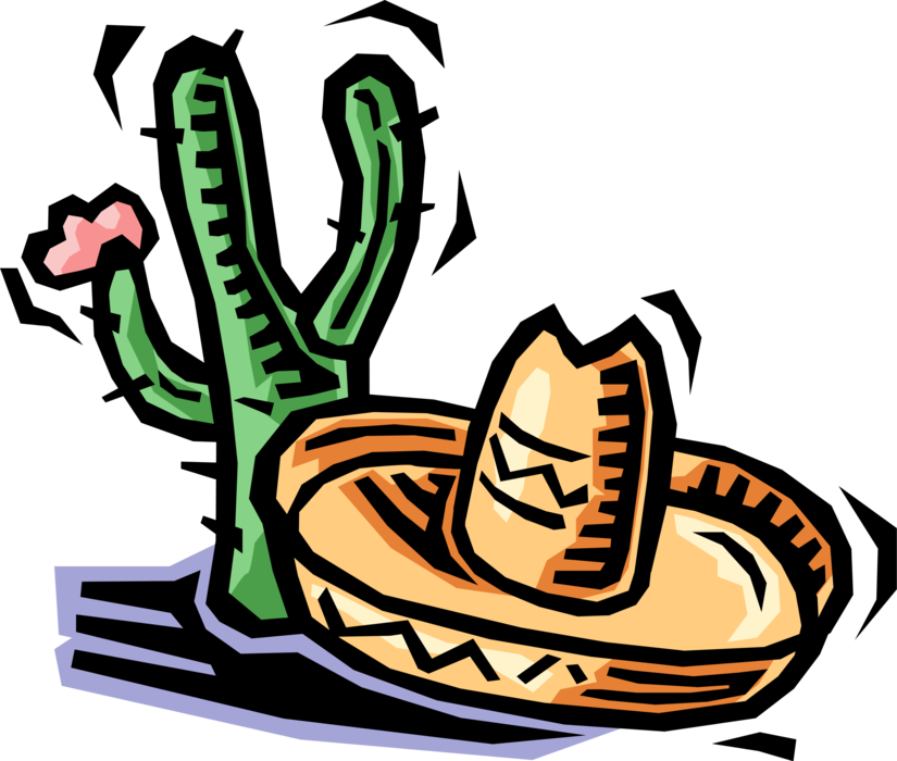 Vector sombrero hat mexico. Desert cactus and mexican