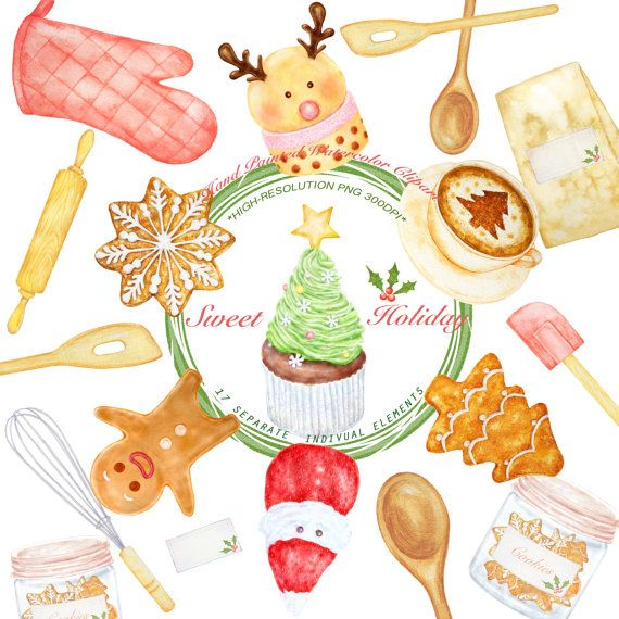 Desert clipart watercolor. Christmas sweet holiday yummy