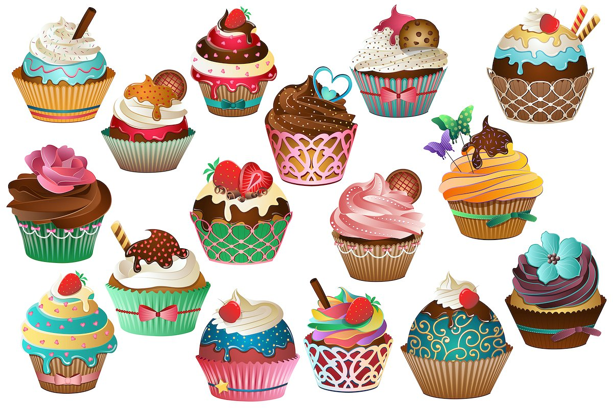 Design clipart cupcake. Vector png jpg illustrations