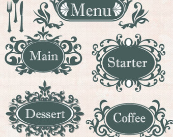 Design clipart menu. Wedding card