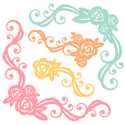 Design svg cute. Flower flourishes scrapbook cut