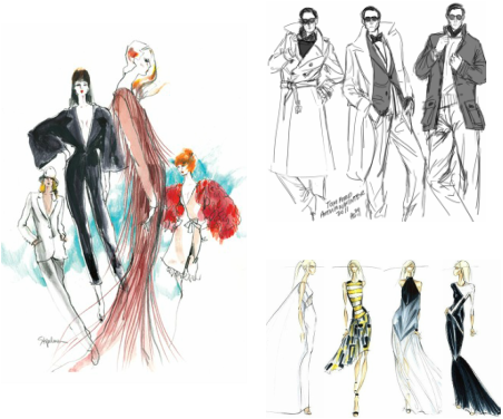 Designer drawing. Design process tom ford