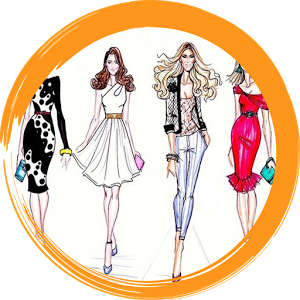 Designer drawing apparel design. Fashion sketches for android