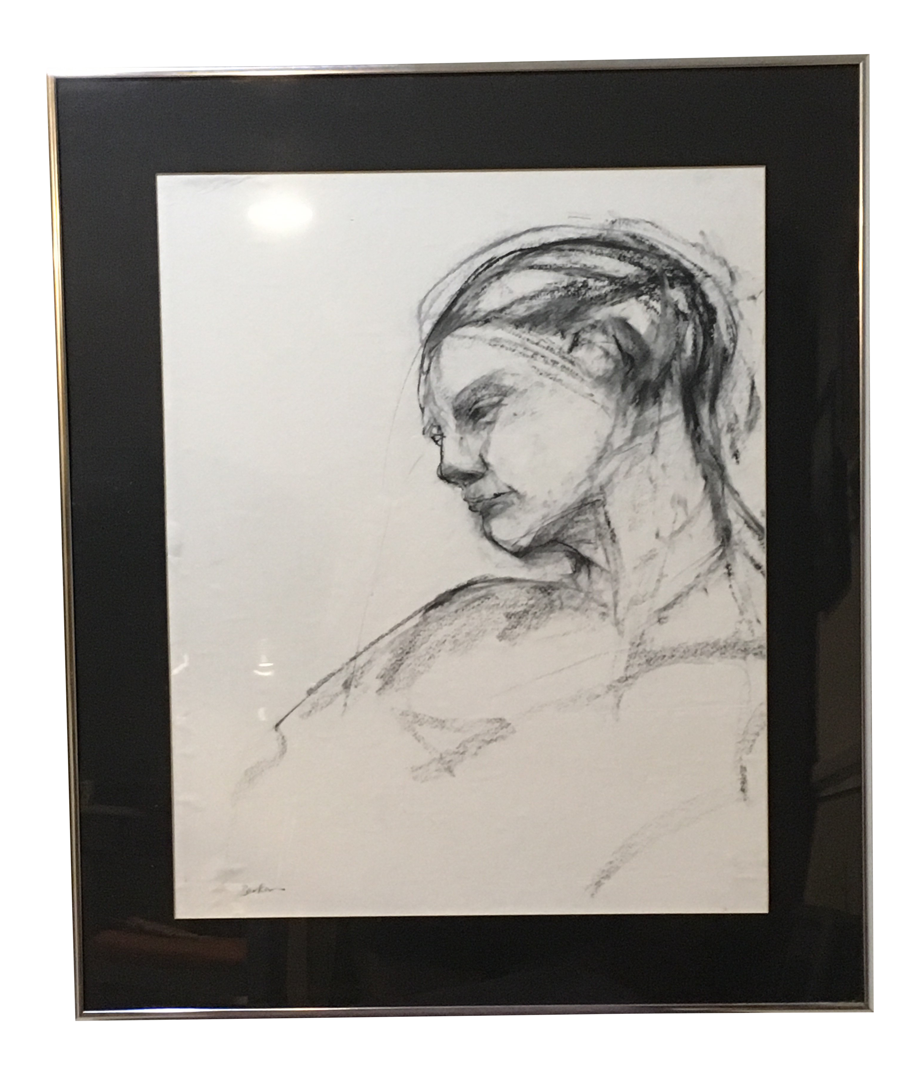 Thoughts drawing charcoal. Original abstract portrait chairish
