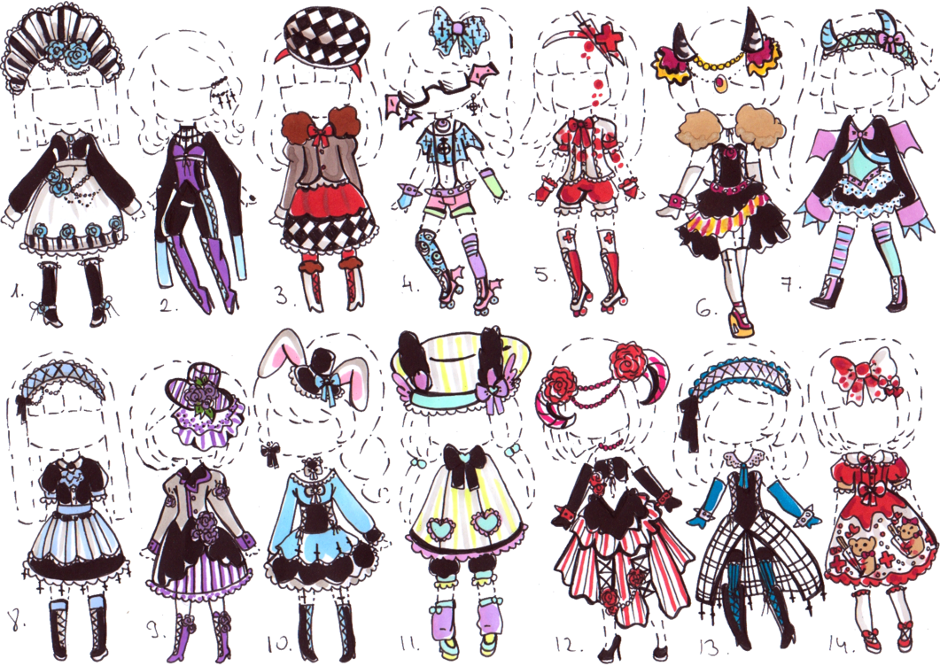 Costume drawing cute. Closed gothic outfit adopts