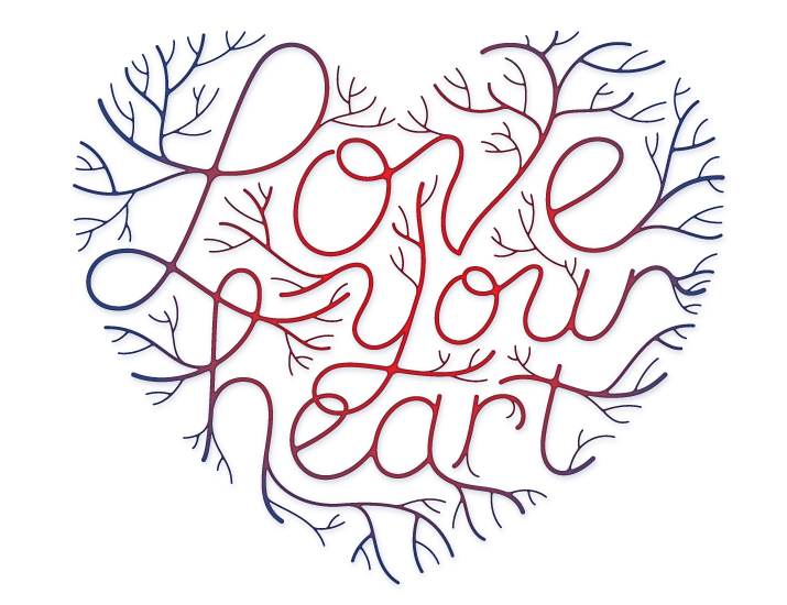 Designer drawing heart. Whimsically creative veiny typography