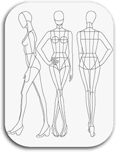 Drawing mannequins fashion model. Download templates pr t