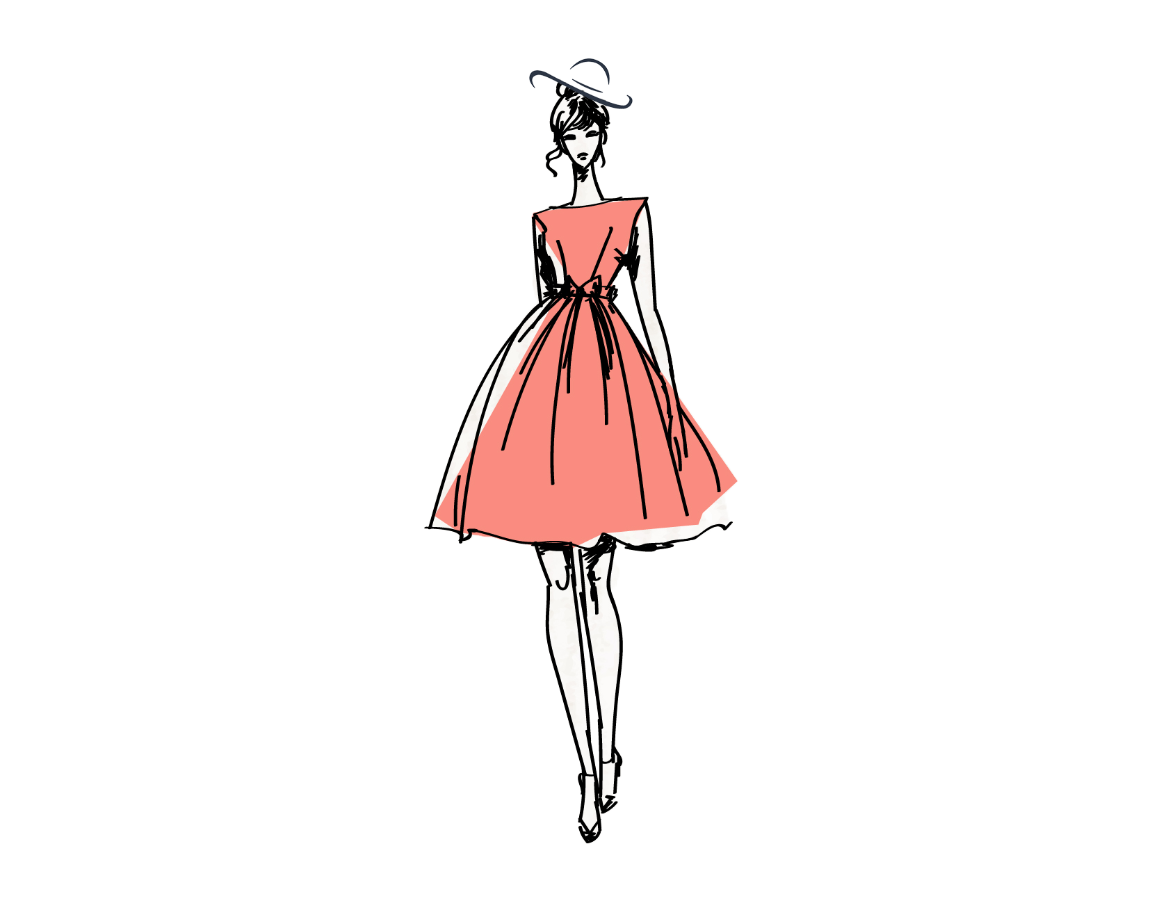 Fashionista drawing vogue dress. To success your place