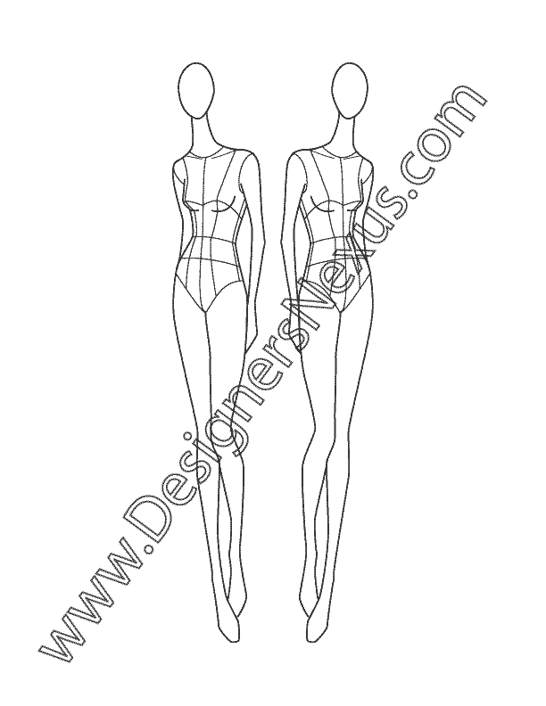 Designer drawing women's clothing. This free fashion croqui