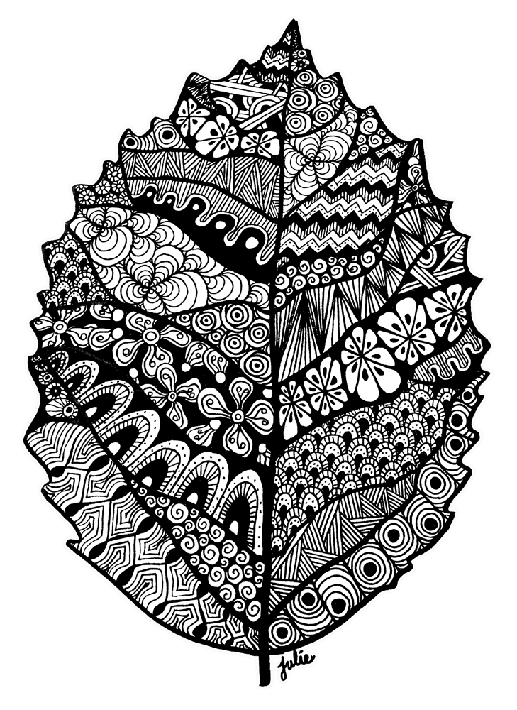 Drawing raindrops zentangle. Leaf by starliteyes on