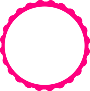 Vector stickers round. Pink scallop circle frame