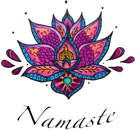 Designer vector hand laptop. Namaste lotus tank color