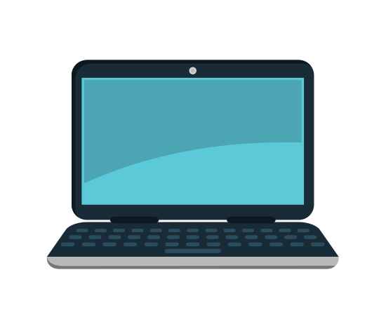 Designer vector hand laptop. Computer icons by canva