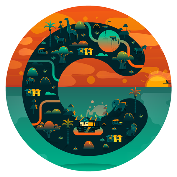 Vector composition graphic. The teal orange combination