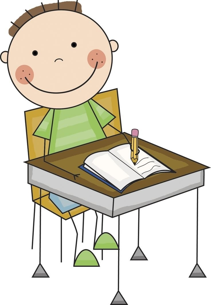Desk clipart. Students working at printable