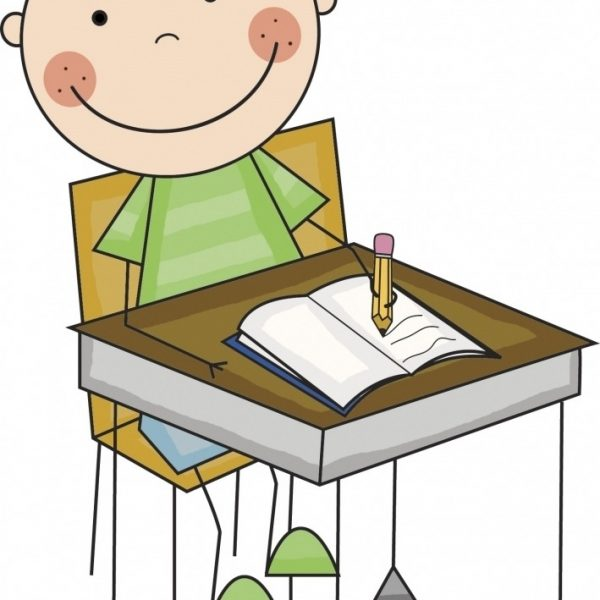 Desk clipart boy. Working at letters inside