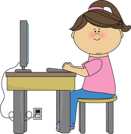 Website clipart computer area. School girl using a