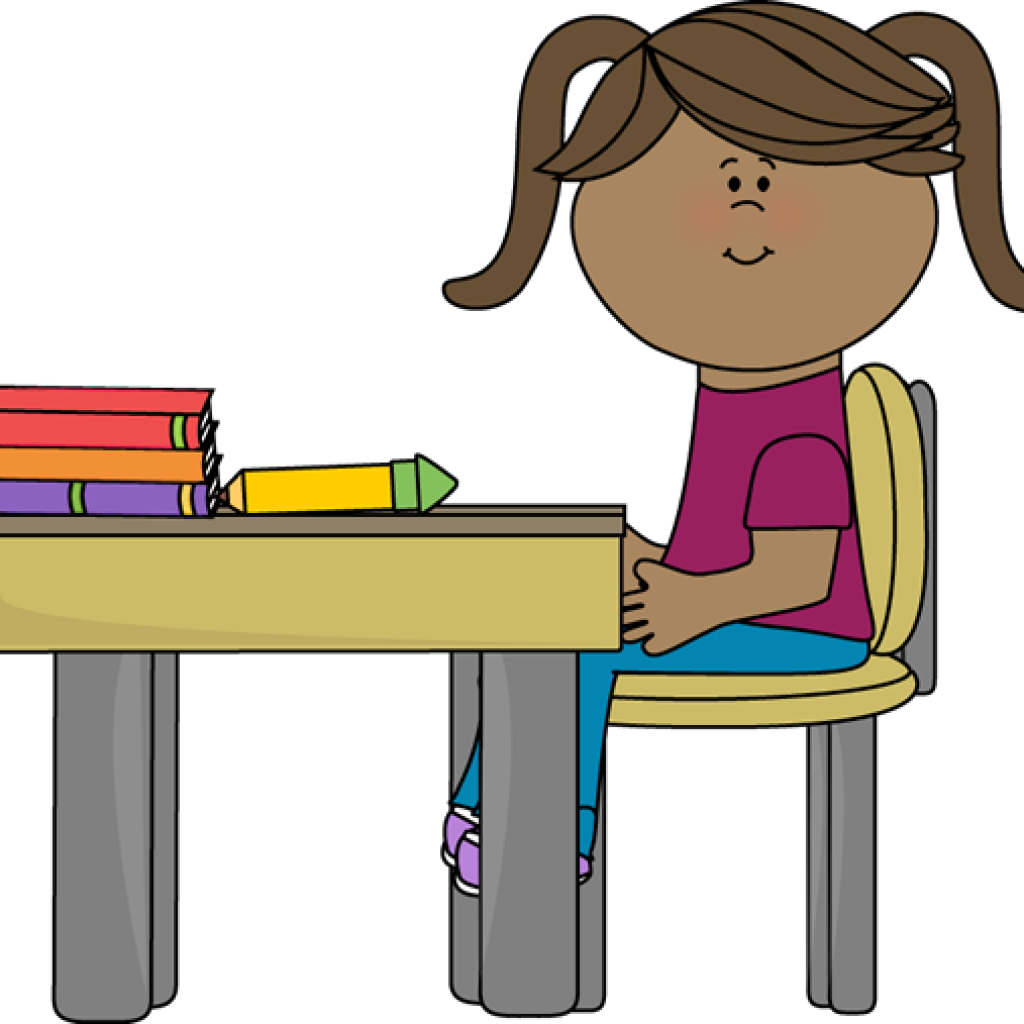 Desk clipart teacher stress. Student working at free