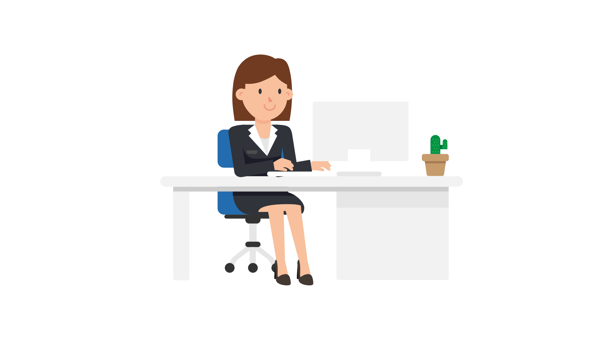 Desk clipart woman. File corporate working at