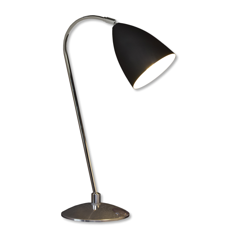 Desk lamp png. Chrome with black shade
