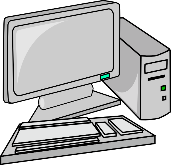 Desktop black and white. Computer clipart image royalty free