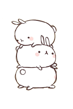Desktop drawing pretty background. Cute bunny molang kawaii