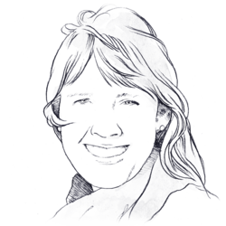 Despair drawing sad woman's face. Is the dark really