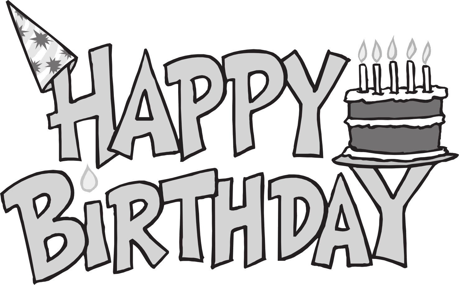 Birthday clipart outline. Happy black and white