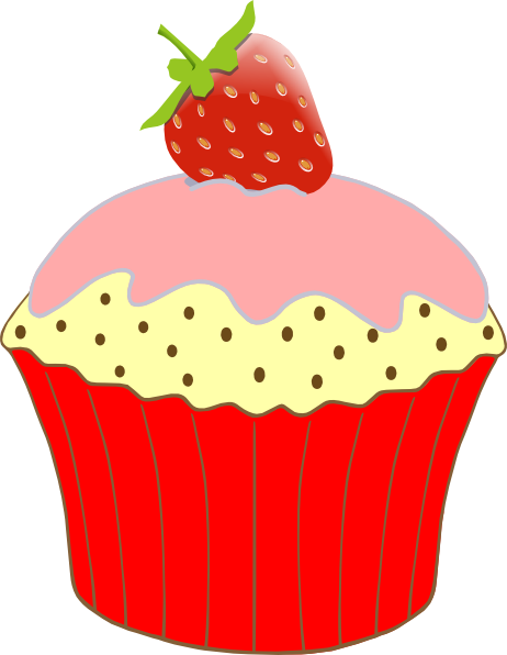Strawberry clipart pink strawberry. Cupcake border free clip