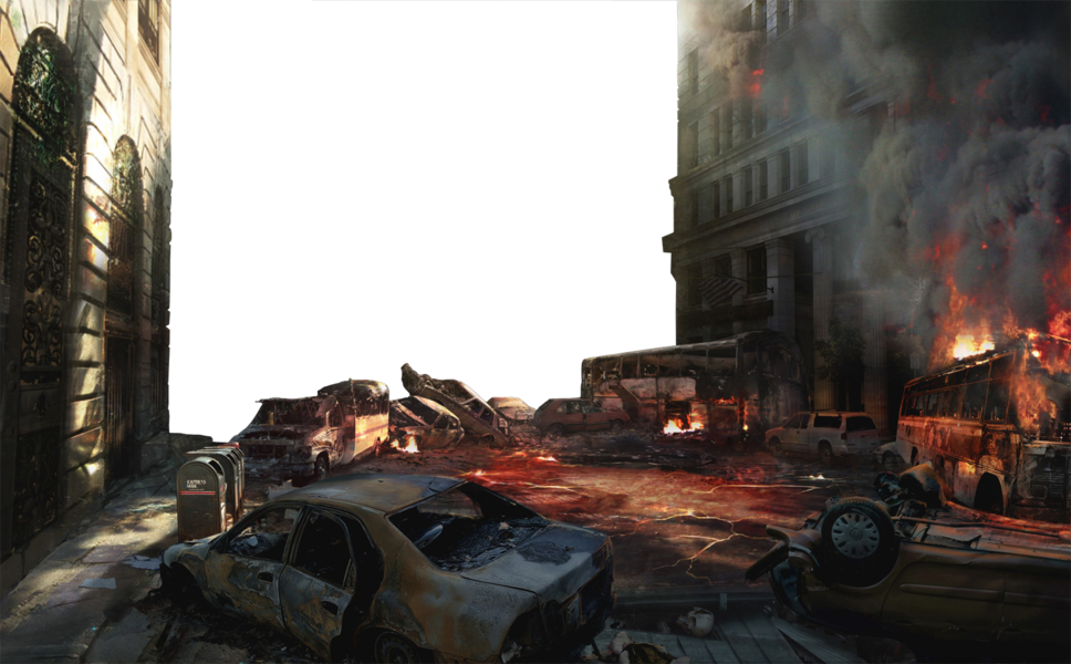 Destroyed city png. Empty background psd official
