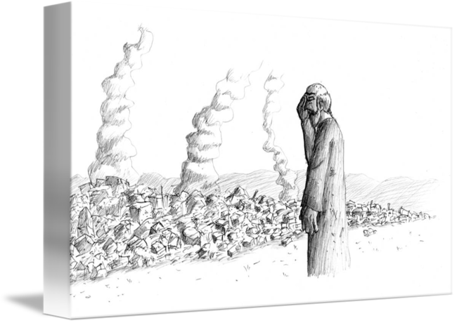 Destruction drawing. Jeremiah watching the of