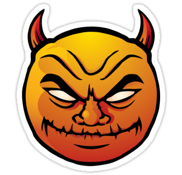 Devil clipart evil. Red smiley stickers by