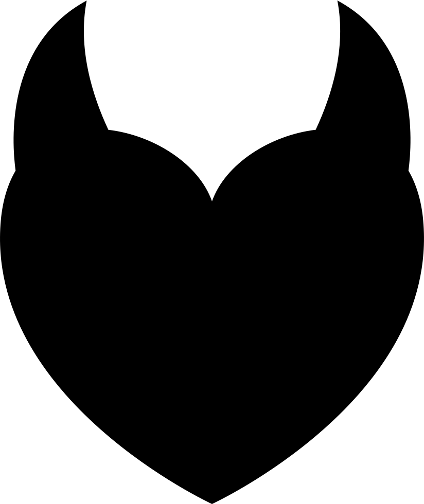 Devil heart png. With two horns svg