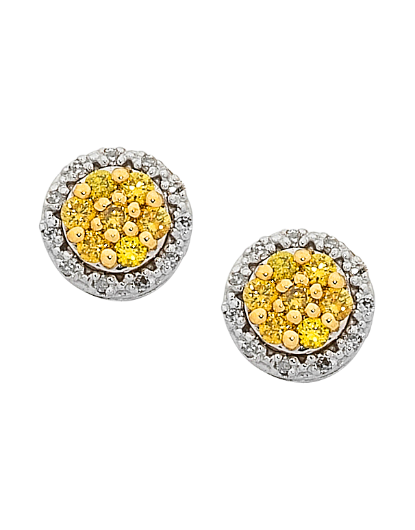 Diamond earrings png. White gold yellow and