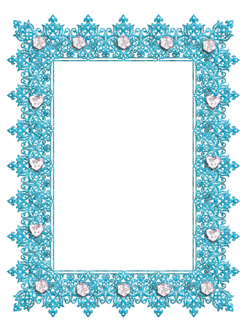 Diamond frame png. Blue transparent with diamonds
