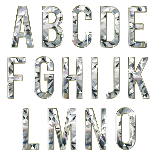 Diamond letters png. Letter font material effect