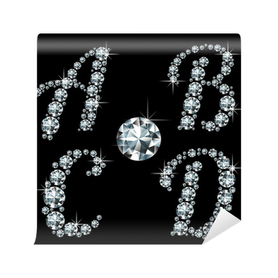 Diamond letters png. Retro styled wall mural