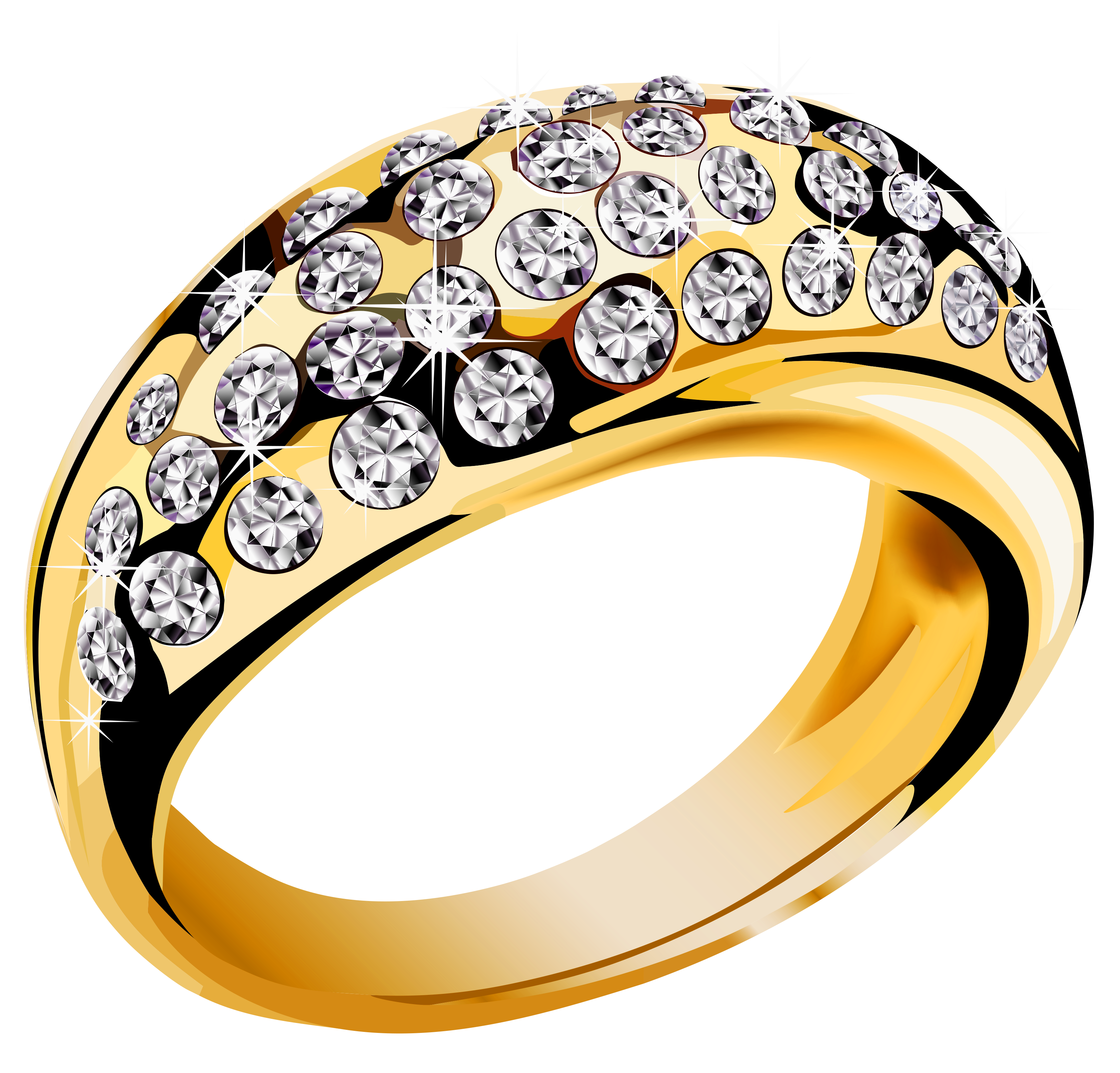 Round stone png. Gold ring with diamonds