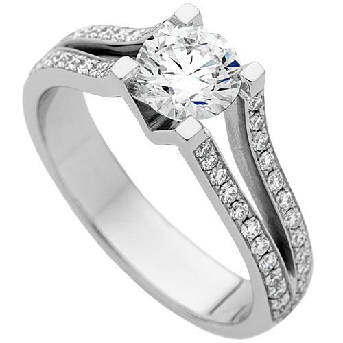 Diamond ring png. Round with split grain