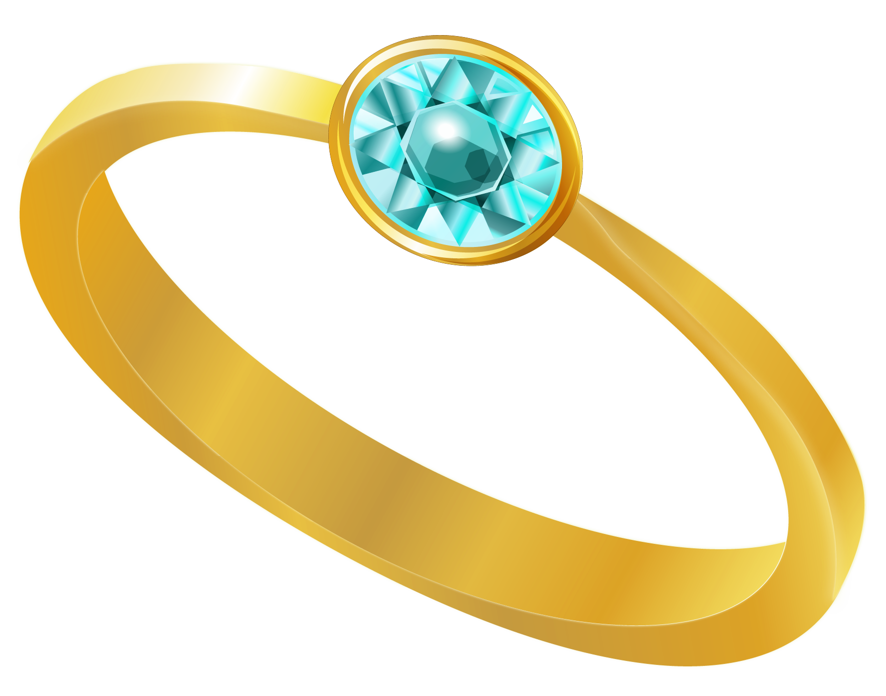 Jewelry clip. Golden ring with blue